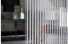 Película Decorativa Listra Branca 1,0x0,5cm Vertical Instalação Parcial